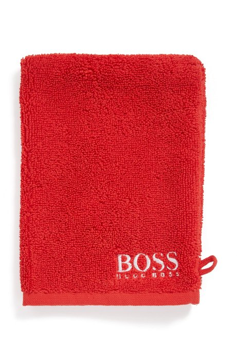 Finest Egyptian cotton washing mitt with contrast logo embroidery, Red