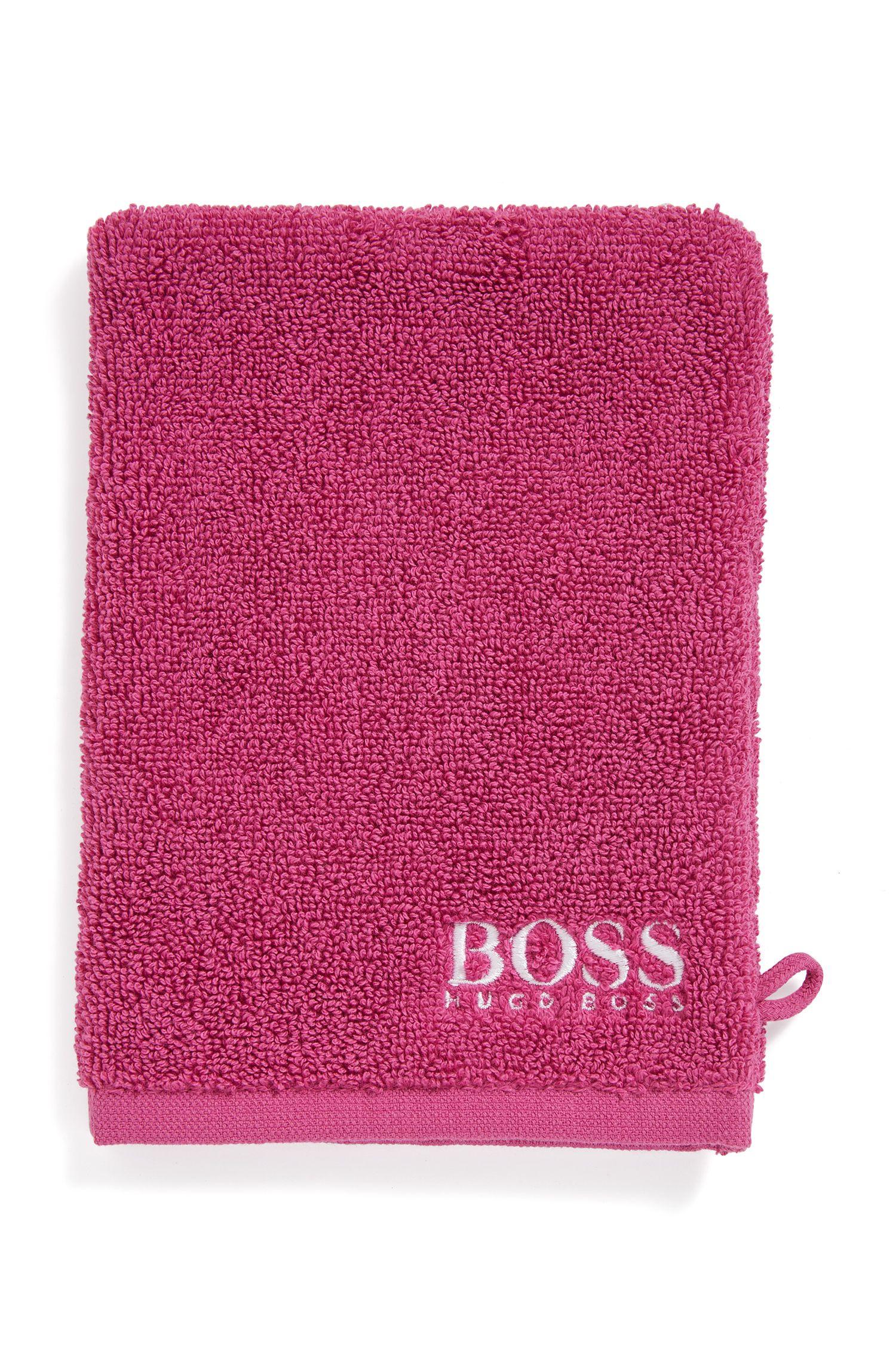Gant de toilette en coton égyptien des plus raffinés avec logo brodé contrastant, Rose