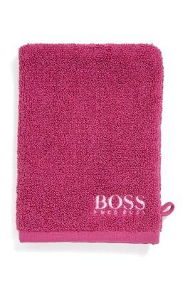 Waschhandschuh aus feinster ägyptischer Baumwolle mit kontrastfarbener Logo-Stickerei, Pink