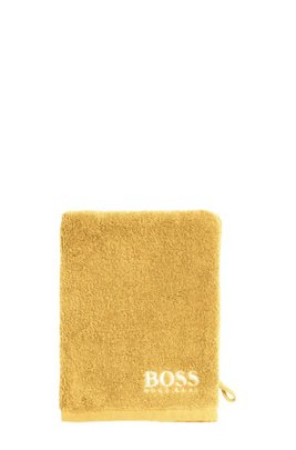 Waschhandschuh aus feinster ägyptischer Baumwolle mit kontrastfarbener Logo-Stickerei, Gelb