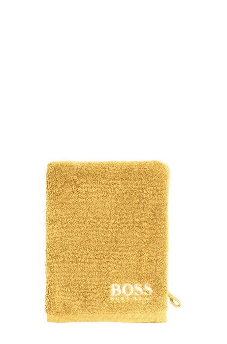 Finest Egyptian cotton washing mitt with contrast logo embroidery, Yellow