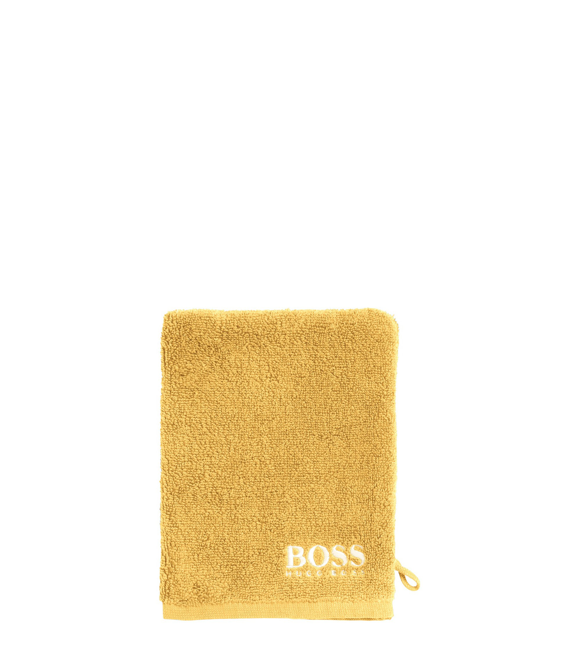 Finest Egyptian cotton washing mitt with contrast logo embroidery, Gold