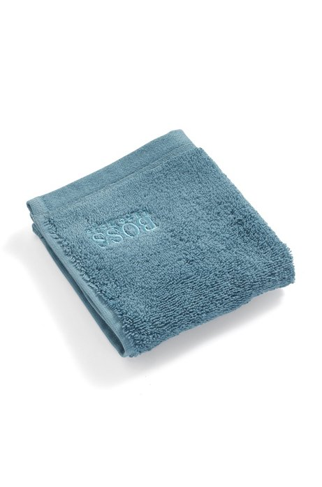 Asciugamano da viso in cotone egeo pettinato, Blu scuro