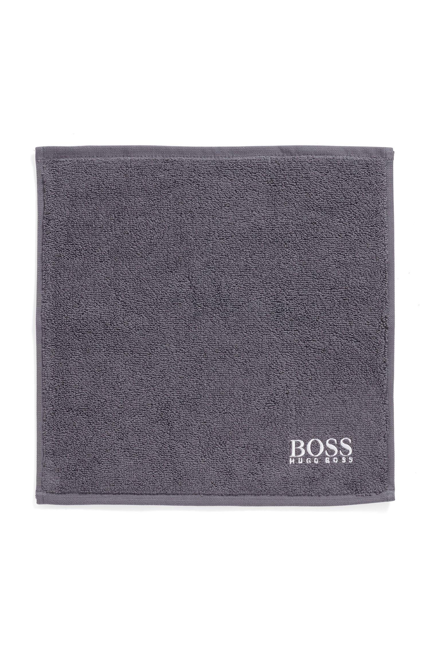 Asciugamano da viso in raffinato cotone egiziano con logo ricamato, Grigio antracite