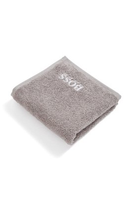 Finest Egyptian cotton face cloth with logo embroidery, Grey
