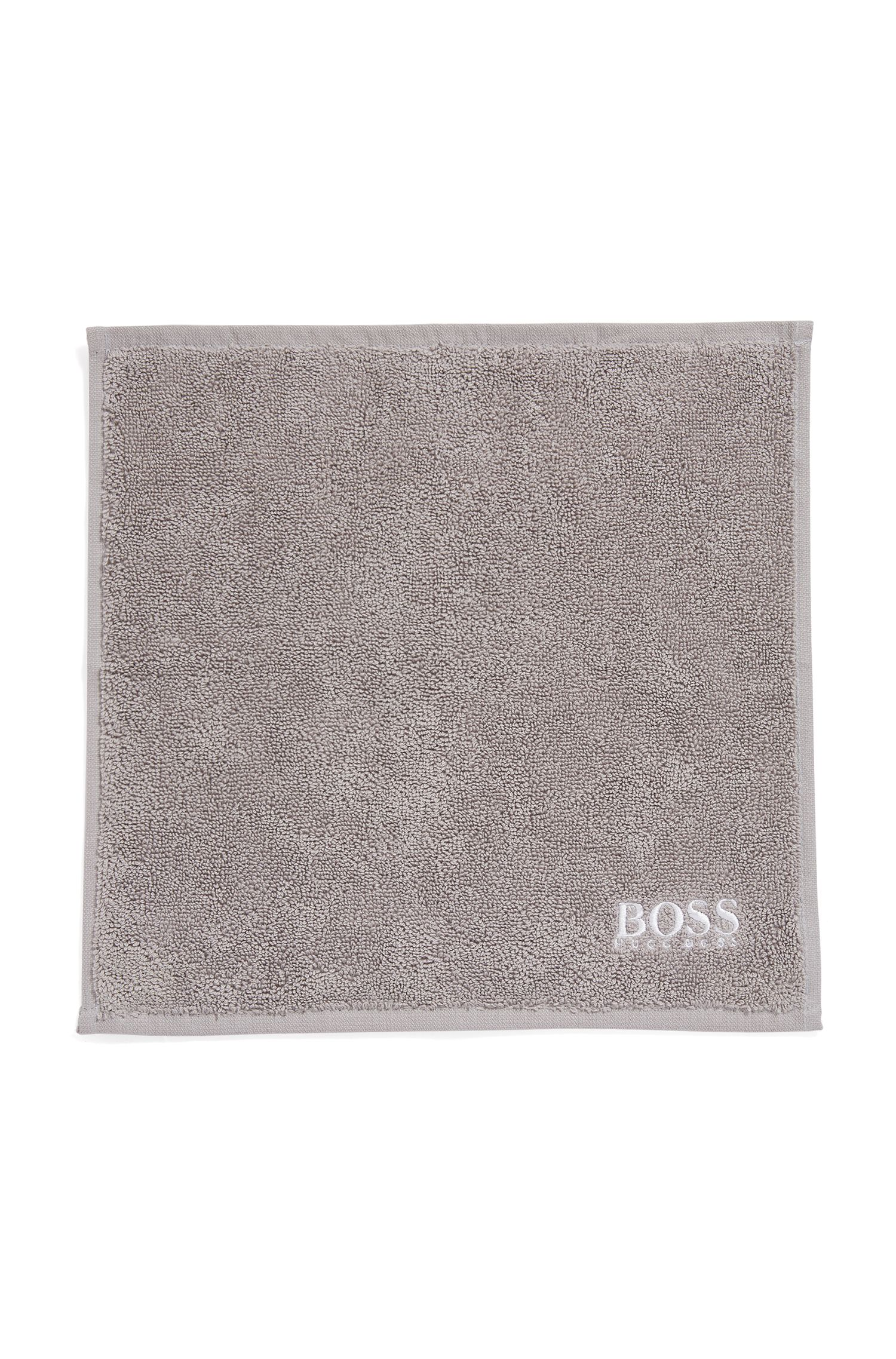 Finest Egyptian cotton face cloth with logo embroidery, Dark Grey