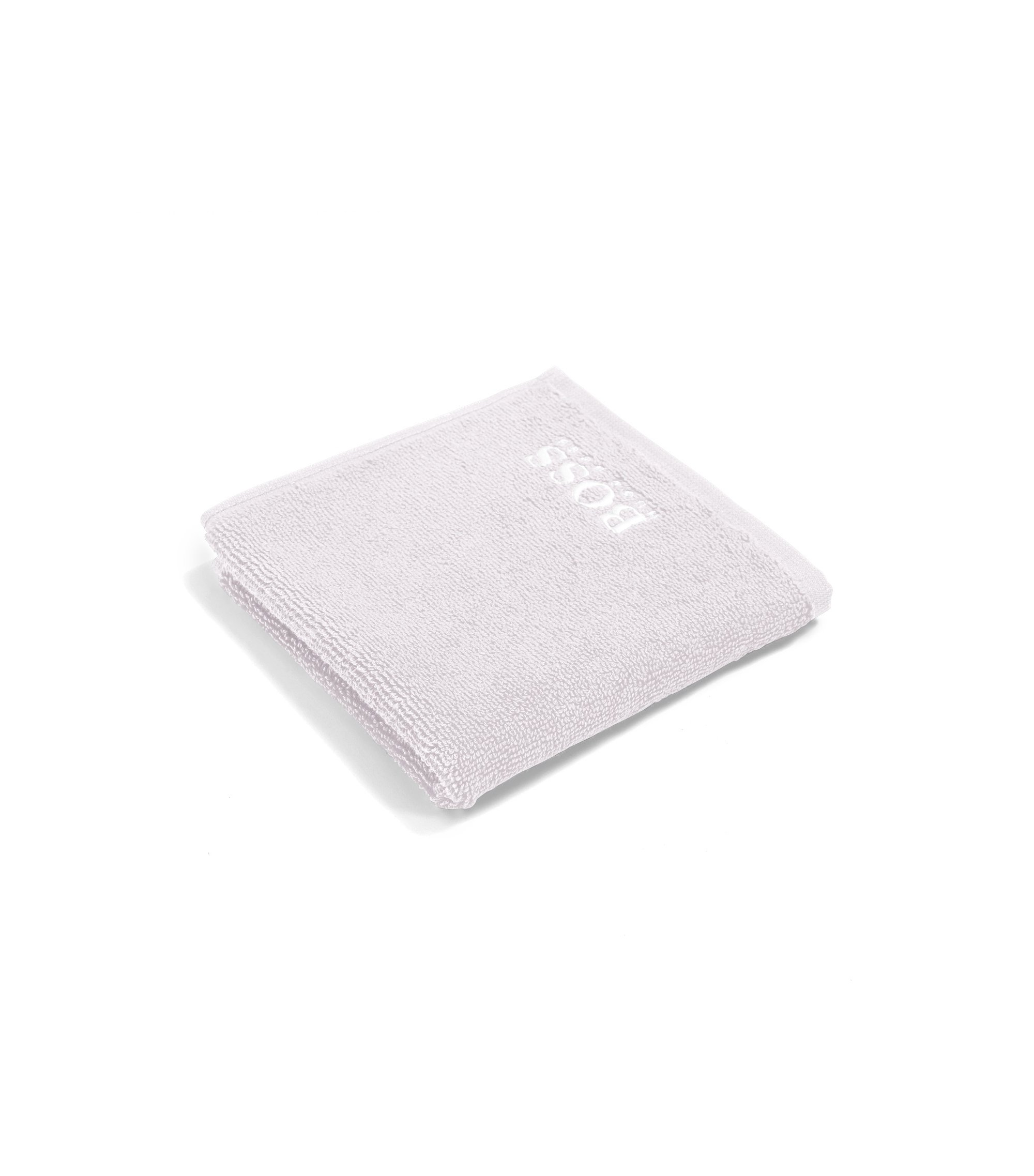 Finest Egyptian cotton face cloth with logo embroidery, Silver