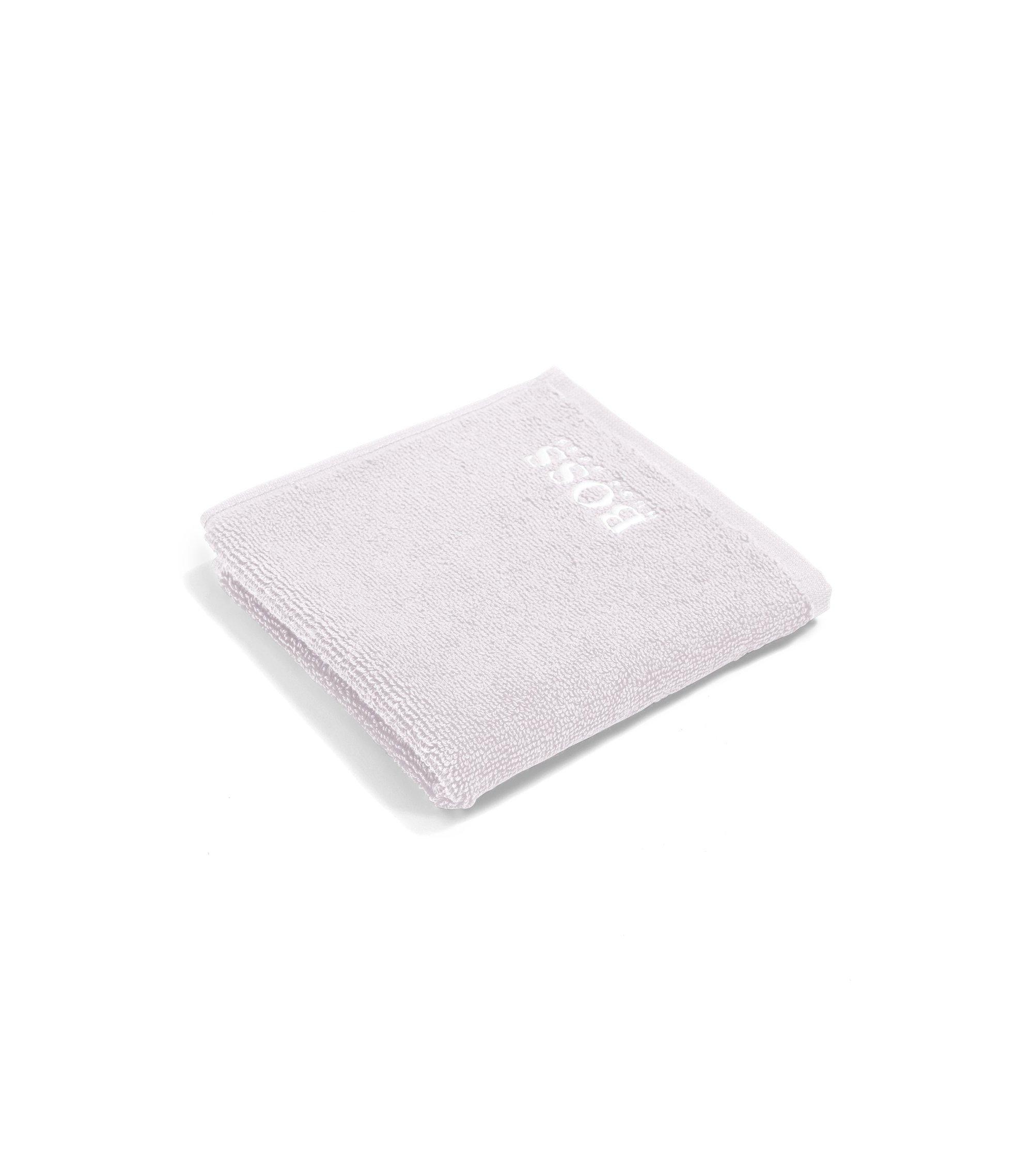 Asciugamano da viso in raffinato cotone egiziano con logo ricamato, Argento