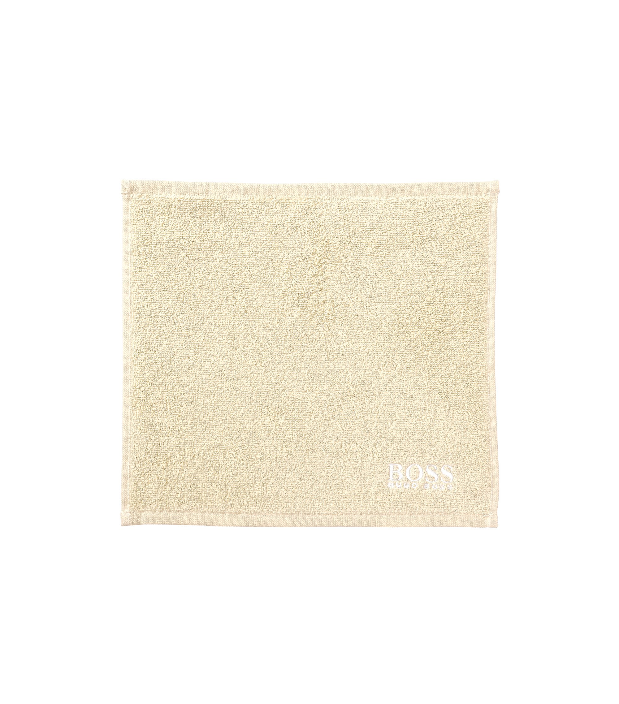 Finest Egyptian cotton face cloth with logo embroidery, Light Beige