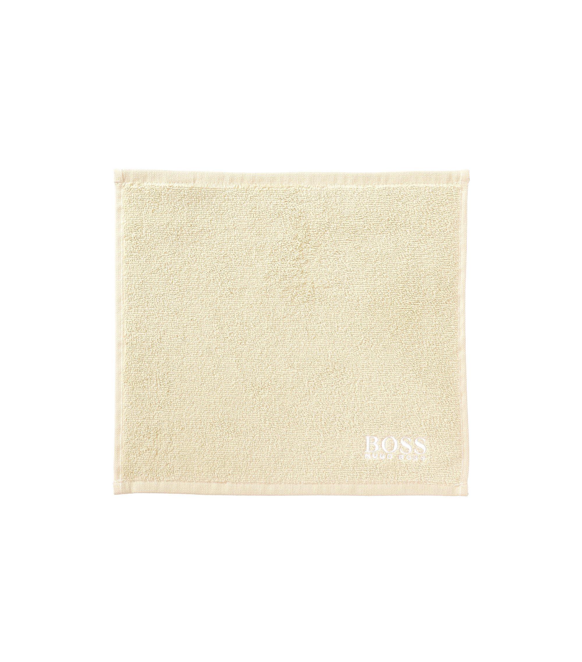 Waschlappen aus feinster ägyptischer Baumwolle mit Logo-Stickerei, Hellbeige