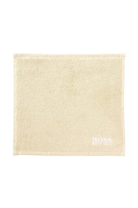 Serviette de toilette pour le visage en coton égyptien des plus raffinés avec logo brodé, Beige clair