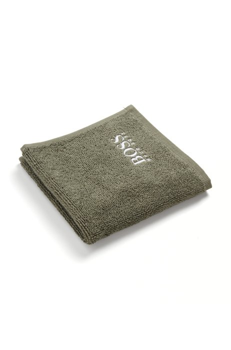 Finest Egyptian cotton face cloth with logo embroidery, Dark Green