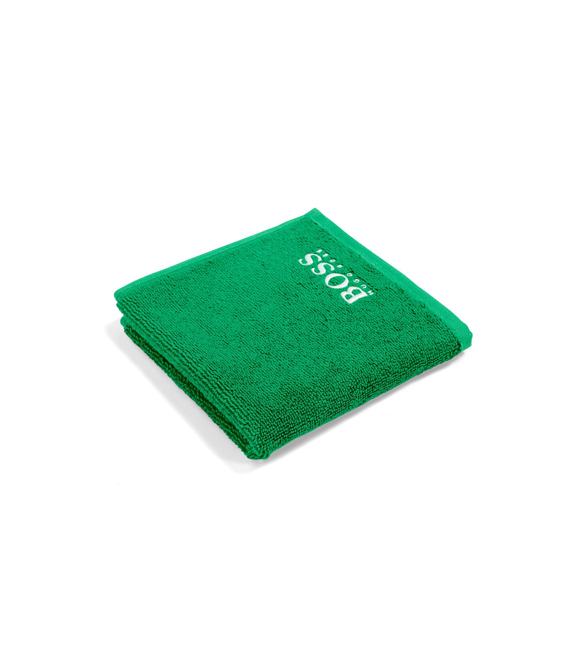 Finest Egyptian cotton face cloth with logo embroidery, Green
