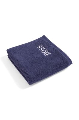 Finest Egyptian cotton face cloth with logo embroidery, Dark Blue