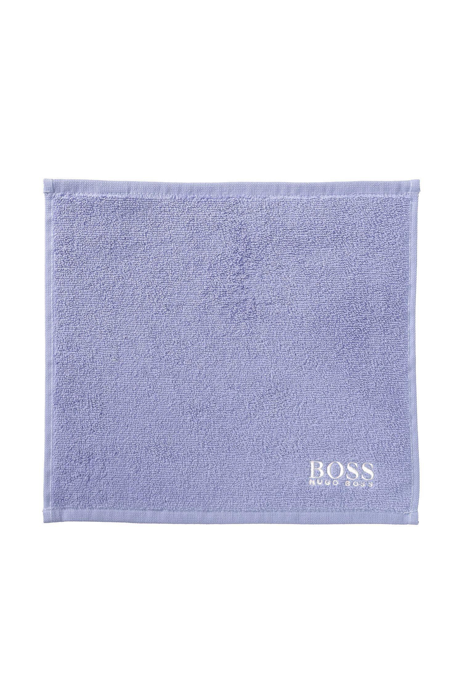 Serviette de toilette pour le visage en coton égyptien des plus raffinés avec logo brodé, Bleu