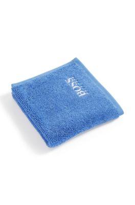 Waschlappen aus feinster ägyptischer Baumwolle mit Logo-Stickerei, Blau