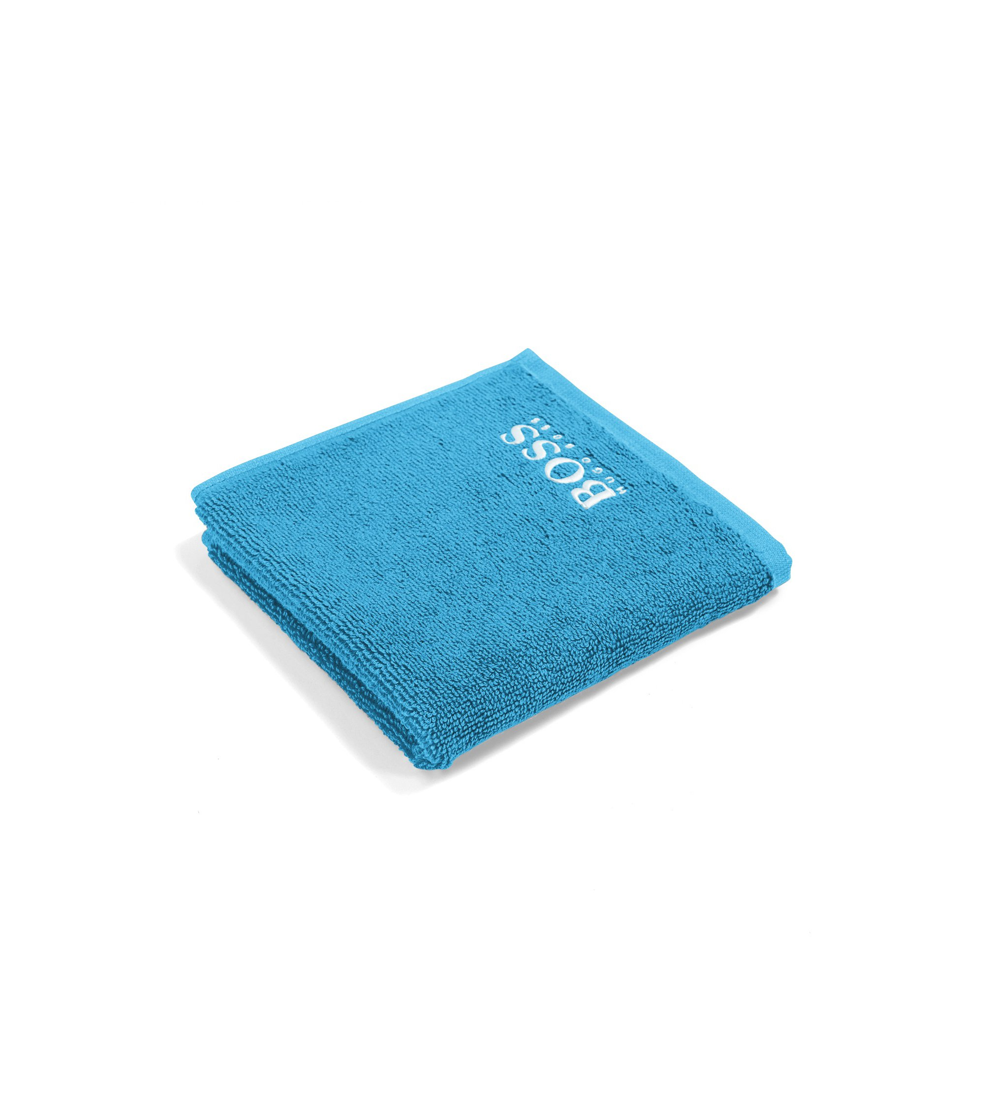Finest Egyptian cotton face cloth with logo embroidery, Blue
