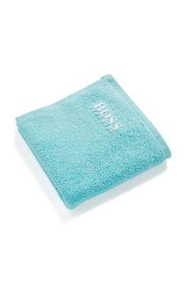 Serviette de toilette pour le visage en coton égyptien des plus raffinés avec logo brodé, Turquoise