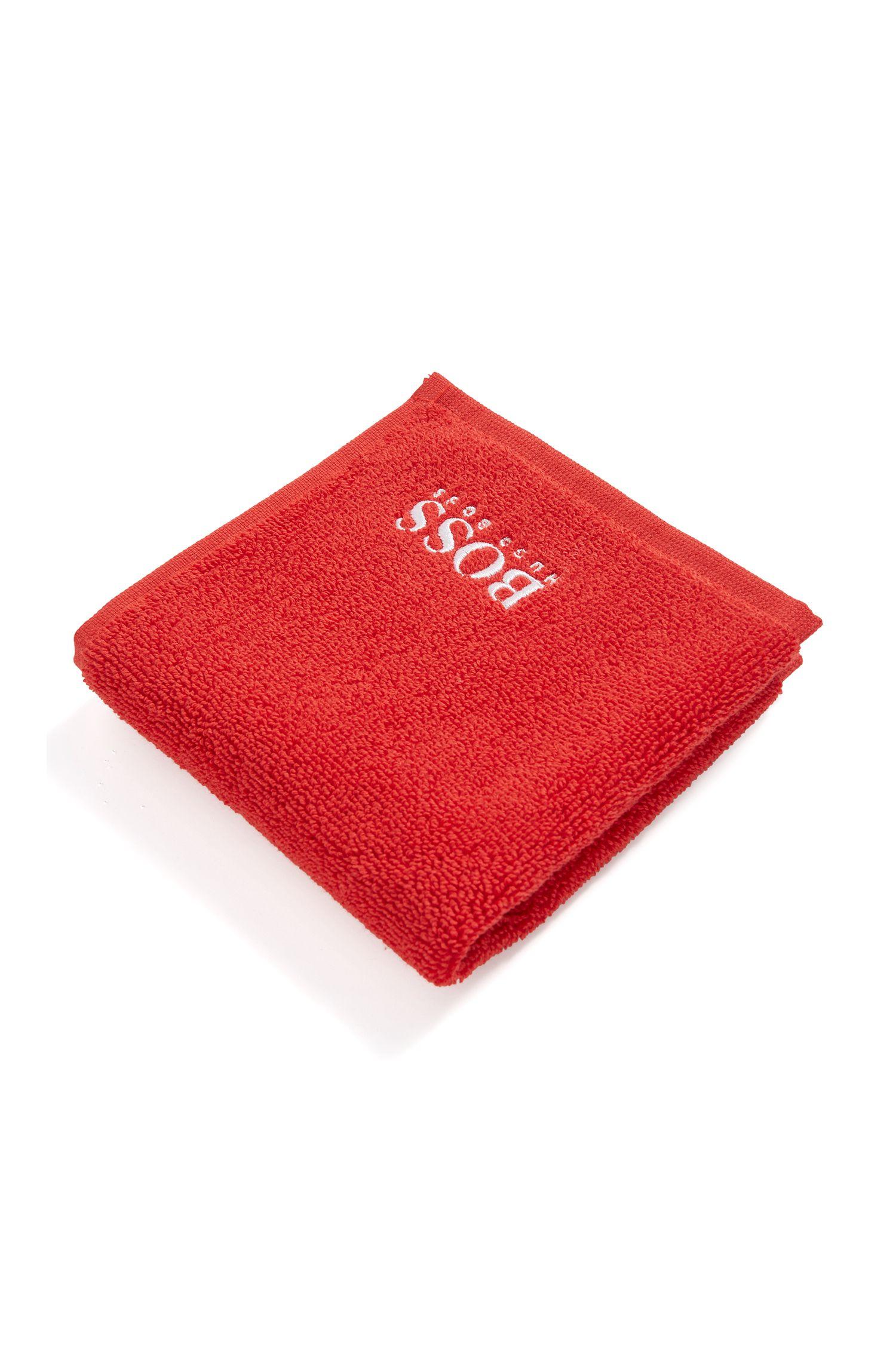 Toalla de cara en algodón egipcio de la máxima calidad con logo bordado, Rojo