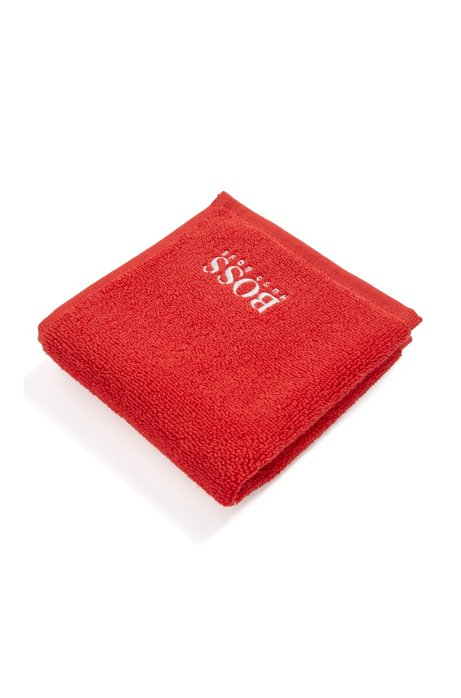 Finest Egyptian cotton face cloth with logo embroidery, Red