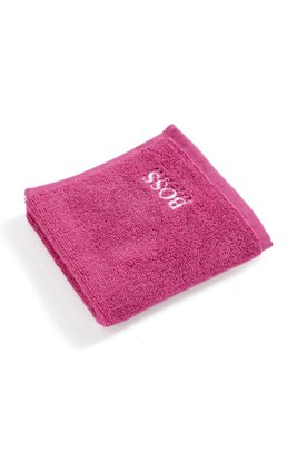 Finest Egyptian cotton face cloth with logo embroidery, Pink