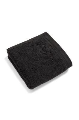 Toalla de cara en algodón del Egeo peinado con logo bordado, Negro