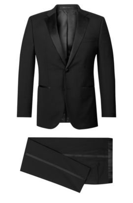 Virgin Wool Notched Lapel Tuxedo, Regular Fit | Stars/Glamour, Black