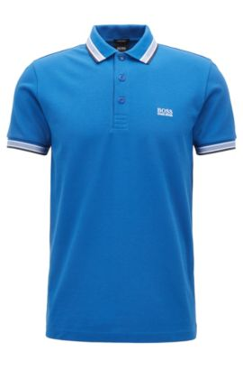 Cotton Polo Shirt, Modern Fit | Paddy, Blue