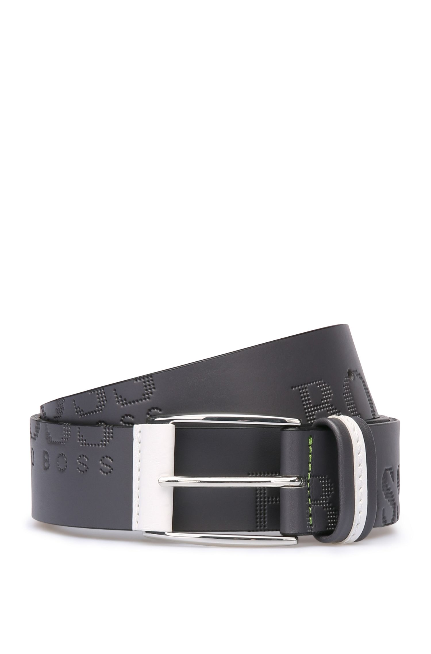 'Millow' | Italian Leather Embossed Logo Belt