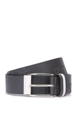 'Millow' | Italian Leather Embossed Logo Belt, Charcoal