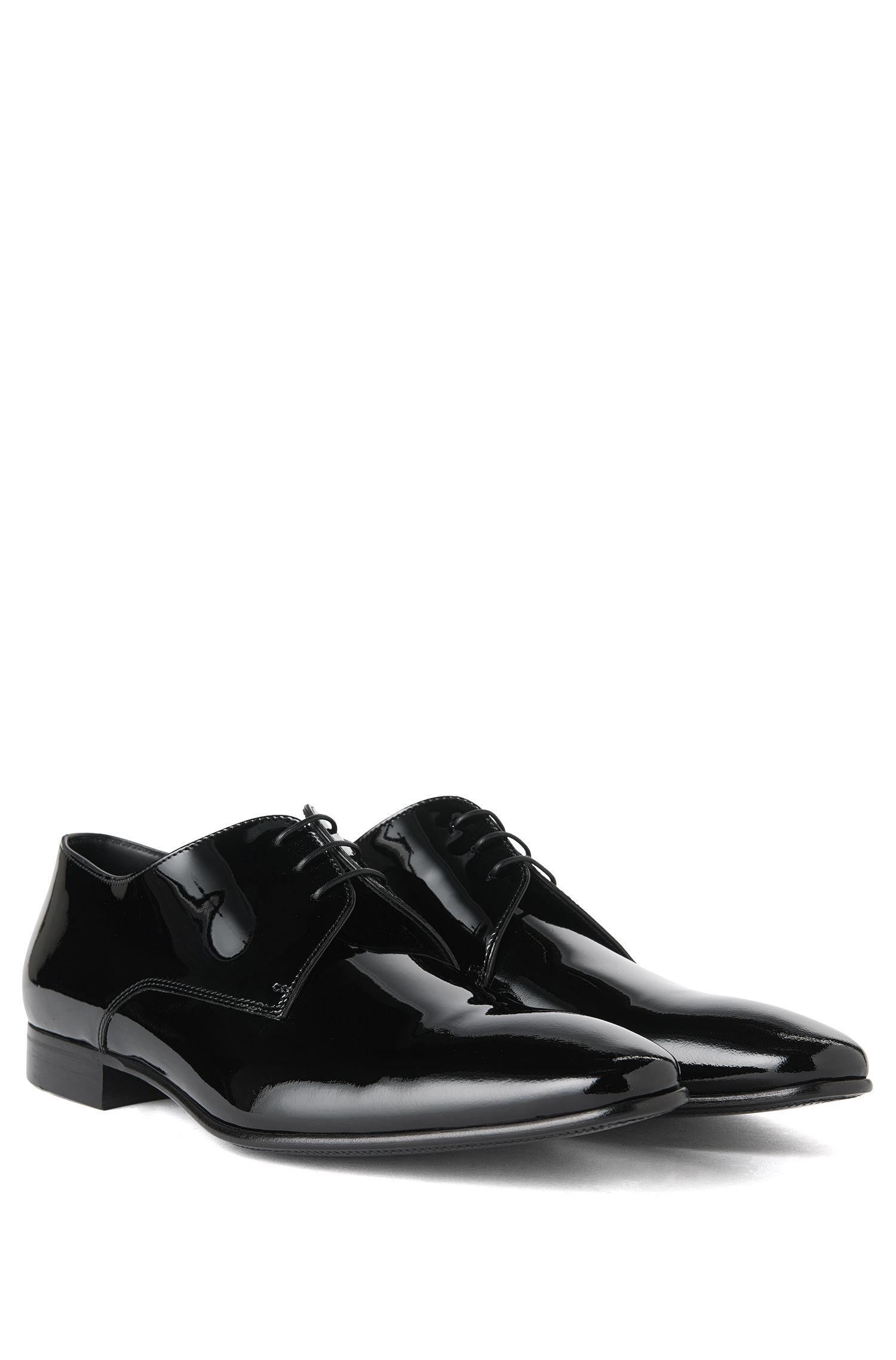 BOSS Hugo Boss Italian Patent Leather Derby Tuxedo Shoe Cristallo 11.5 Black