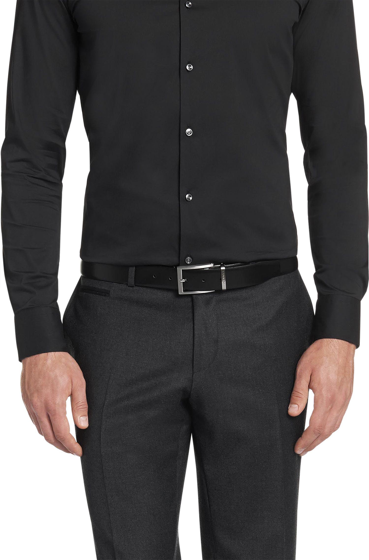 Leather Reversible Belt | Olario CN, Black