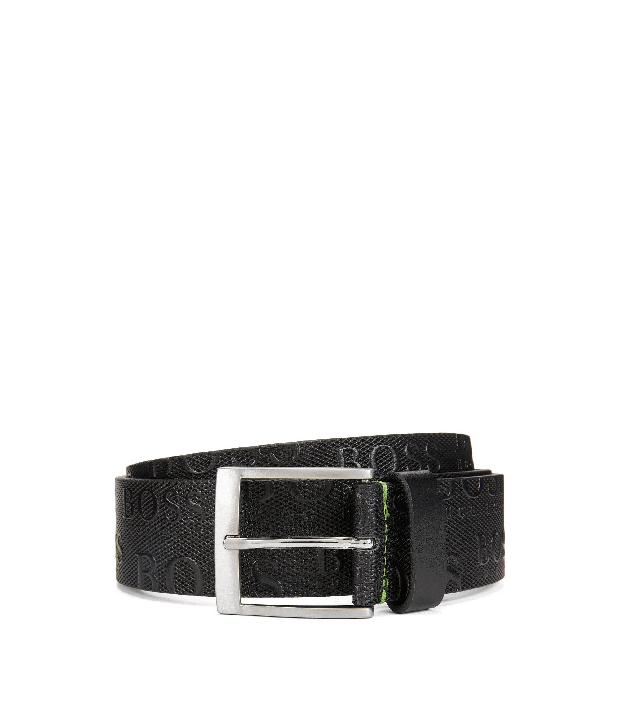Leather Allover Logo Belt | Torialo, Black