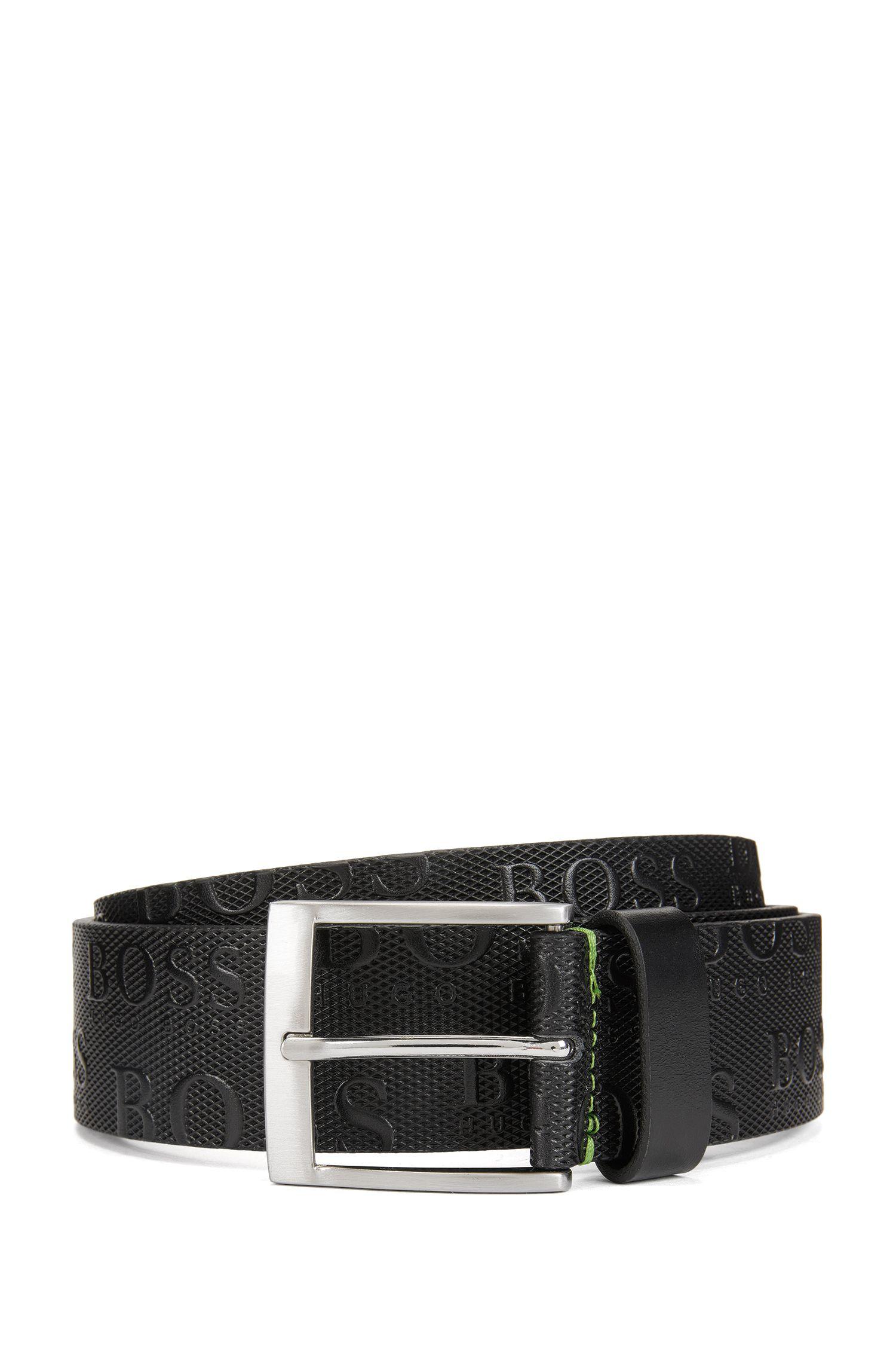 Leather Allover Logo Belt | Torialo, Black