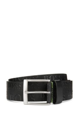 'Torialo' | Leather Allover Logo Belt, Black