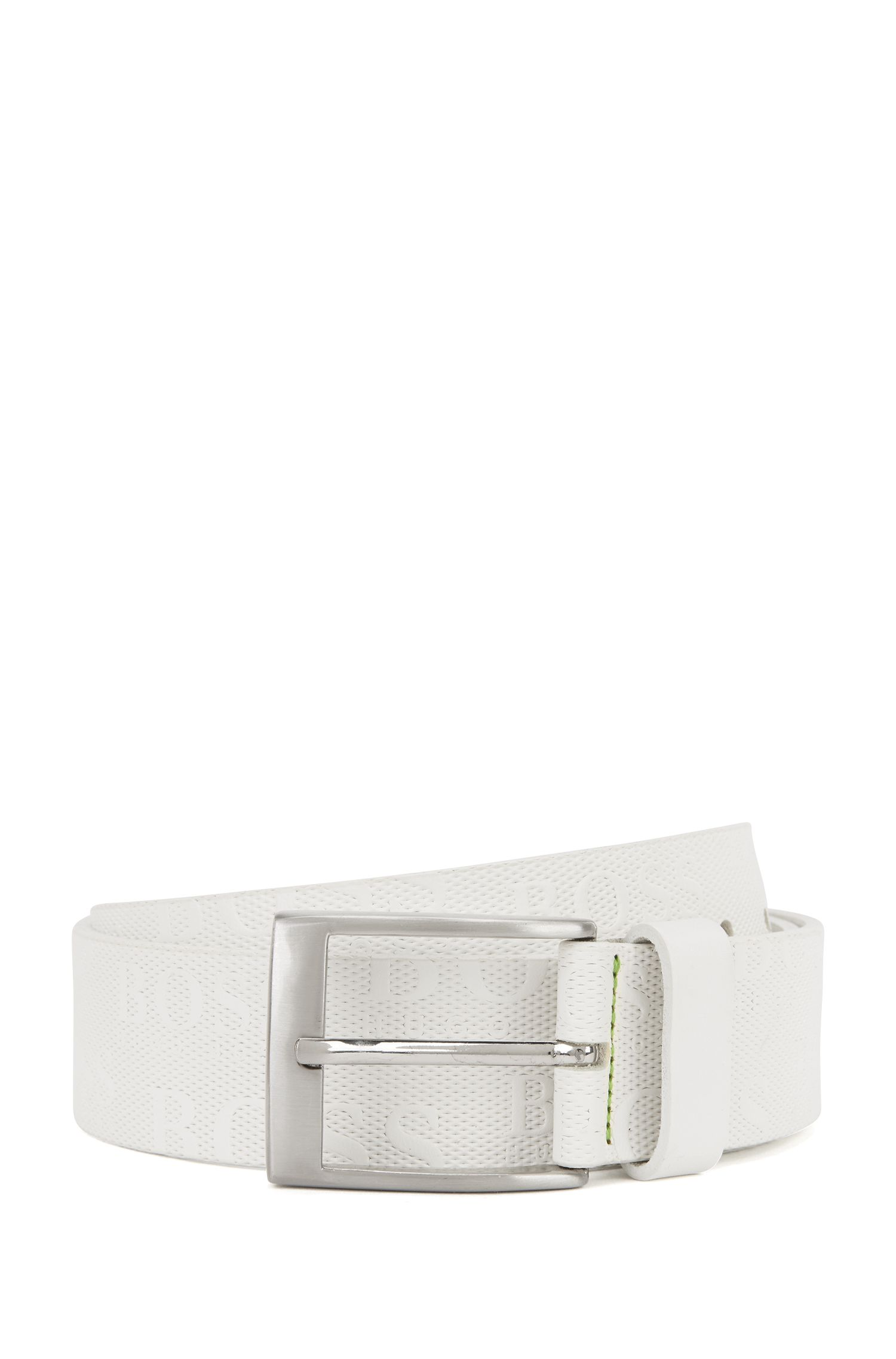 Leather Allover Logo Belt | Torialo, White