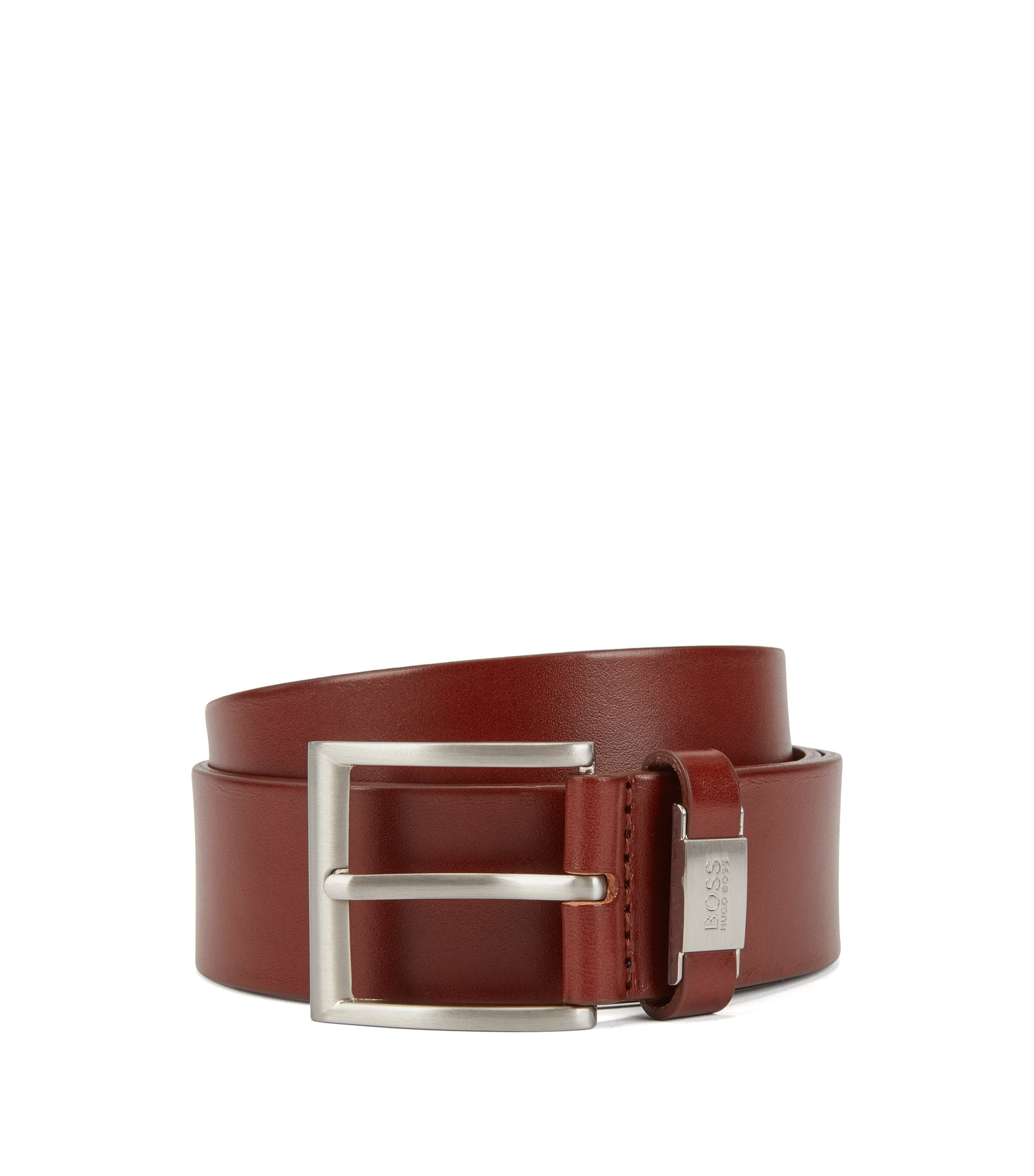 'Connio' | Metal Tab-Detailed Leather Belt, Brown