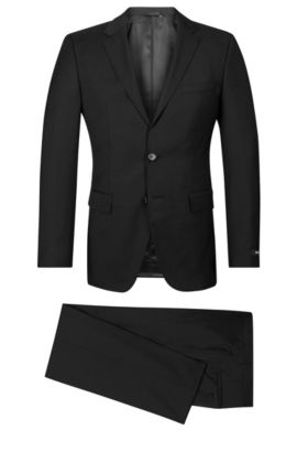 Italian Super 120 Virgin Wool Suit, Regular Fit | The James/Sharp, Black