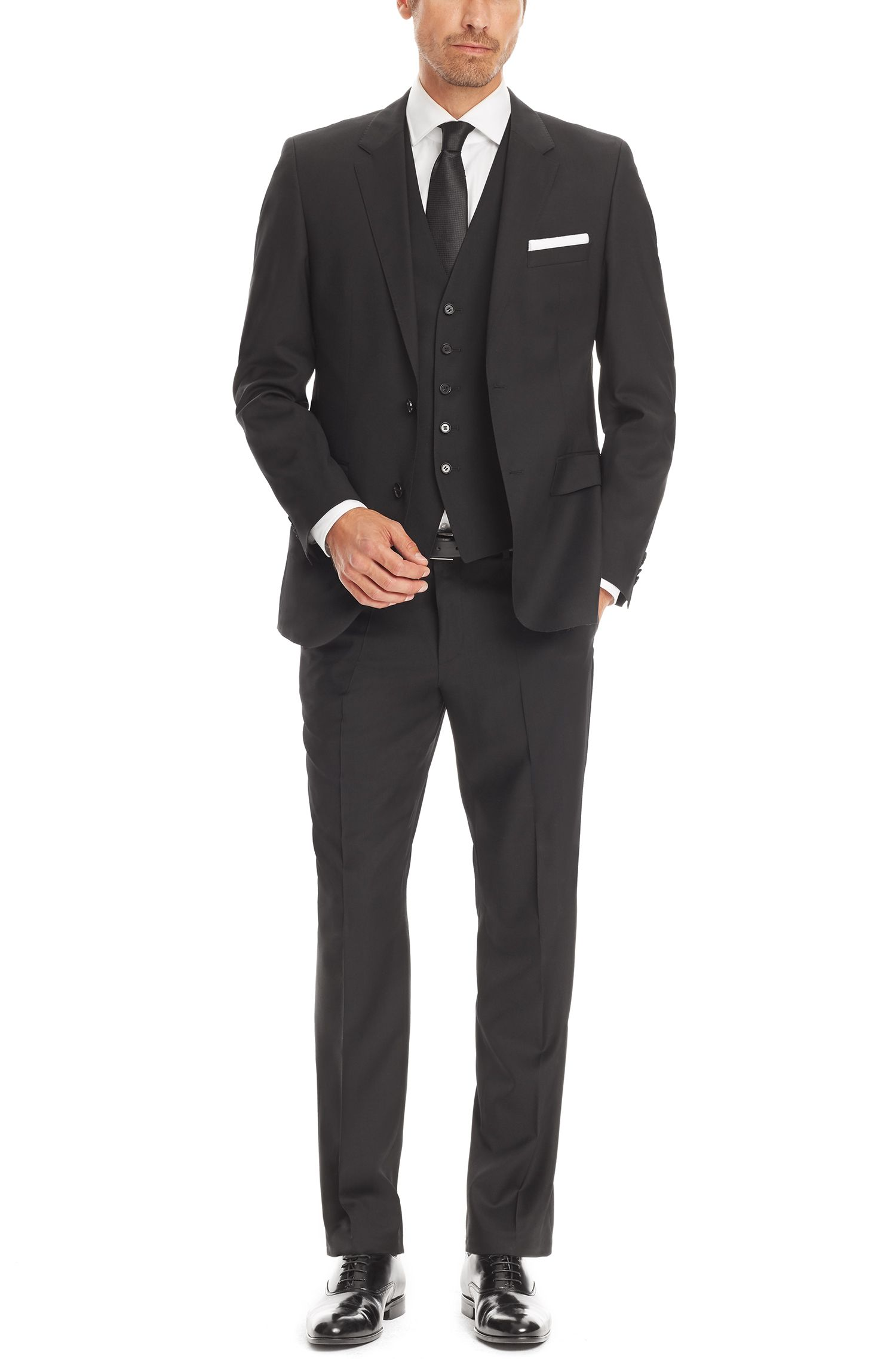 Italian Wool Suit, Regular Fit | The James/Sharp, Black