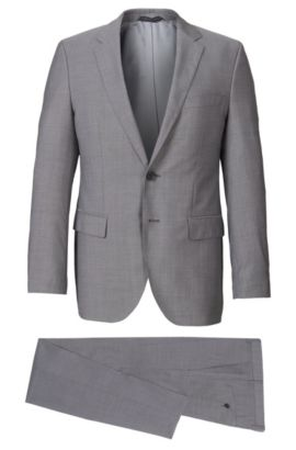 Italian Super 120 Virgin Wool Suit, Regular Fit | The James/Sharp, Grey