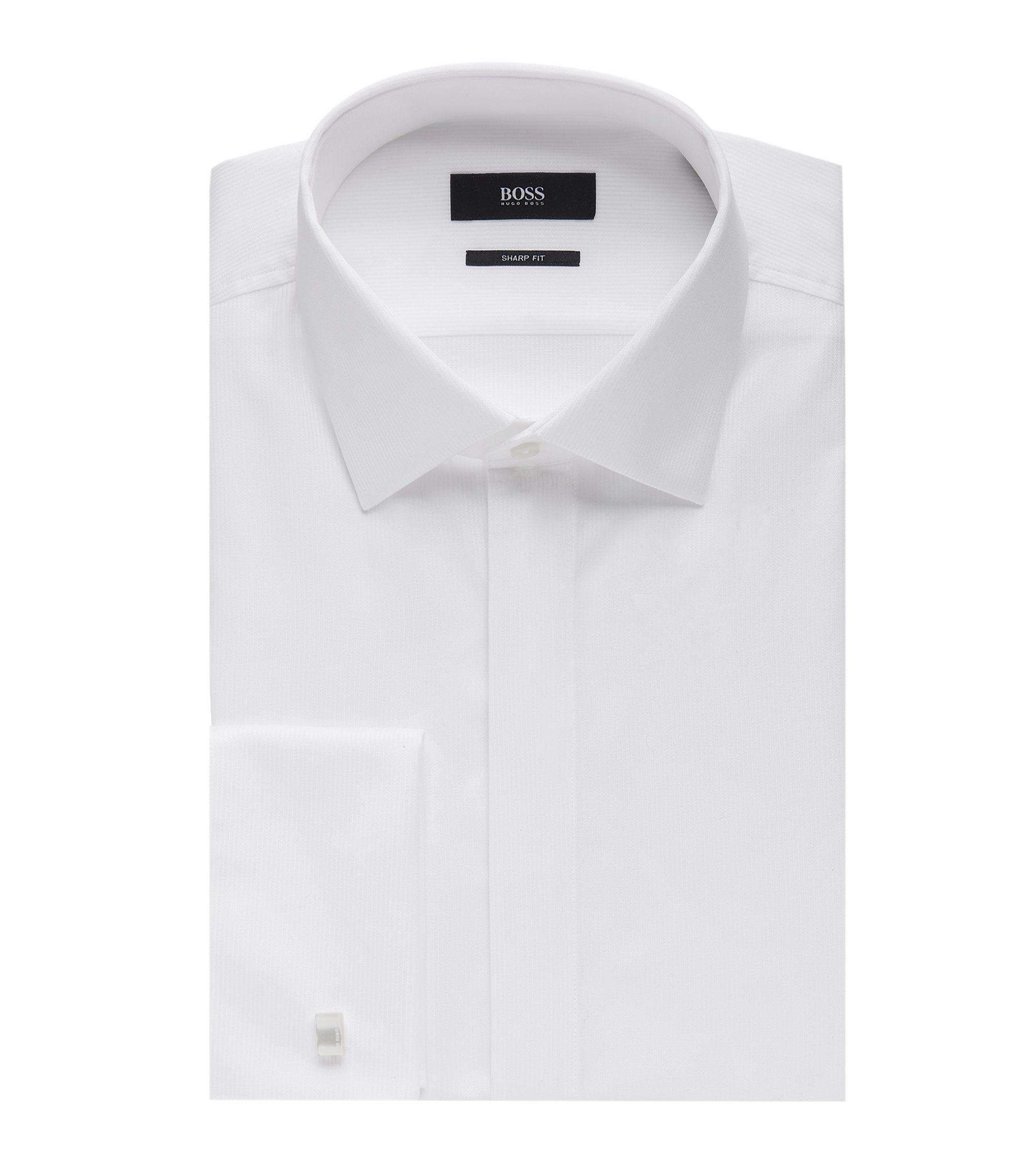 French Cuff Pique Cotton Dress Shirt, Slim Fit | Marlyn US, White