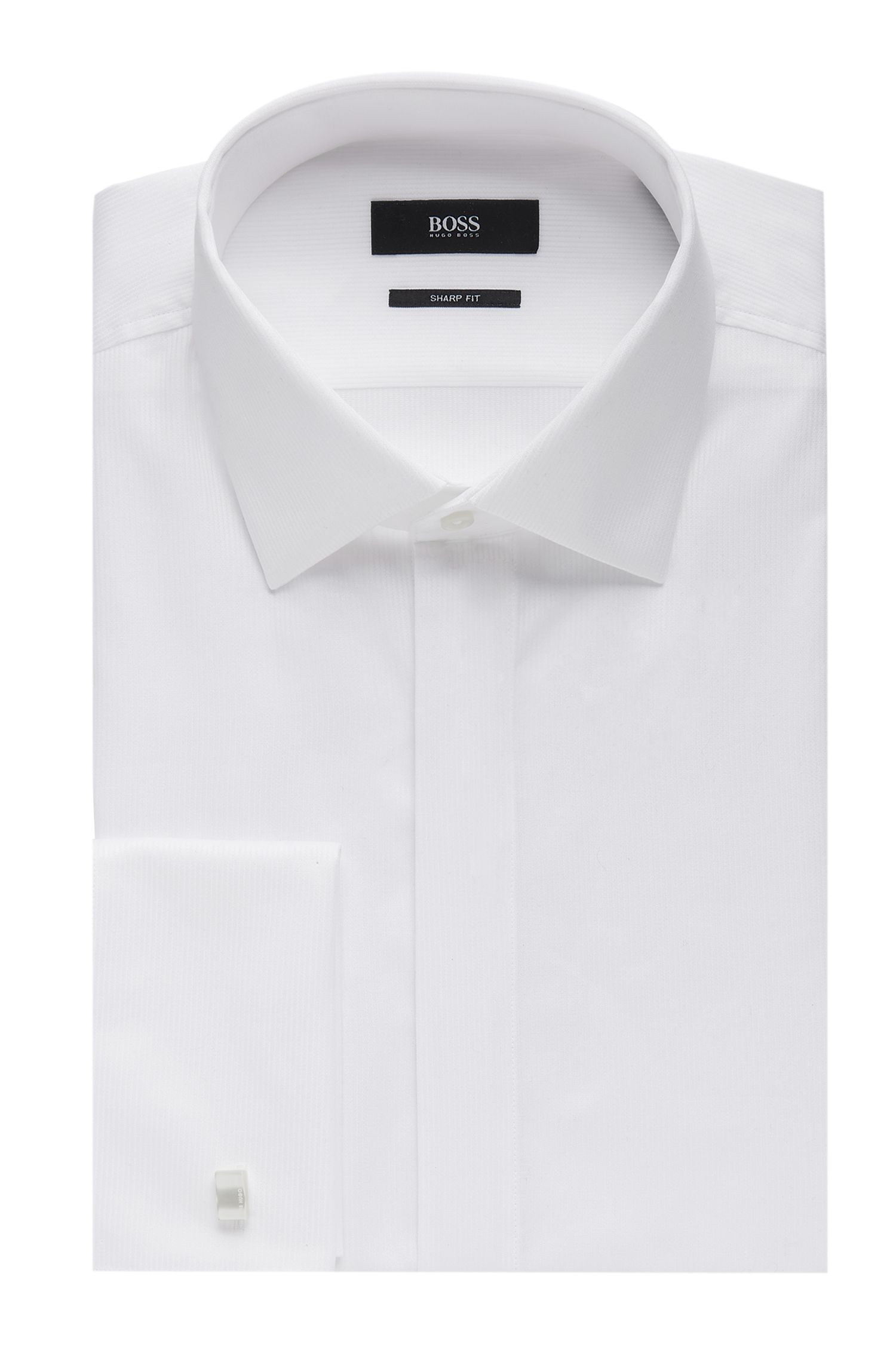 'Ismo' | Slim fit, French Cuff Pique Cotton Dress Shirt