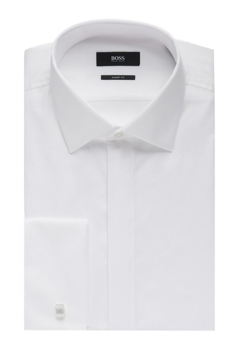 53d3d748e French Cuff Pique Cotton Dress Shirt, Slim Fit | Marlyn US, White