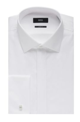 'Ismo' | Slim fit, French Cuff Pique Cotton Dress Shirt, White