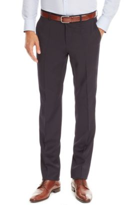 'Sharp' | Regular Fit, Virgin Wool Dress Pants, Dark Blue