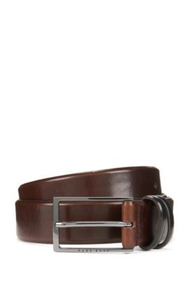 'Carmello' | Shiny Leather Belt, Dark Brown