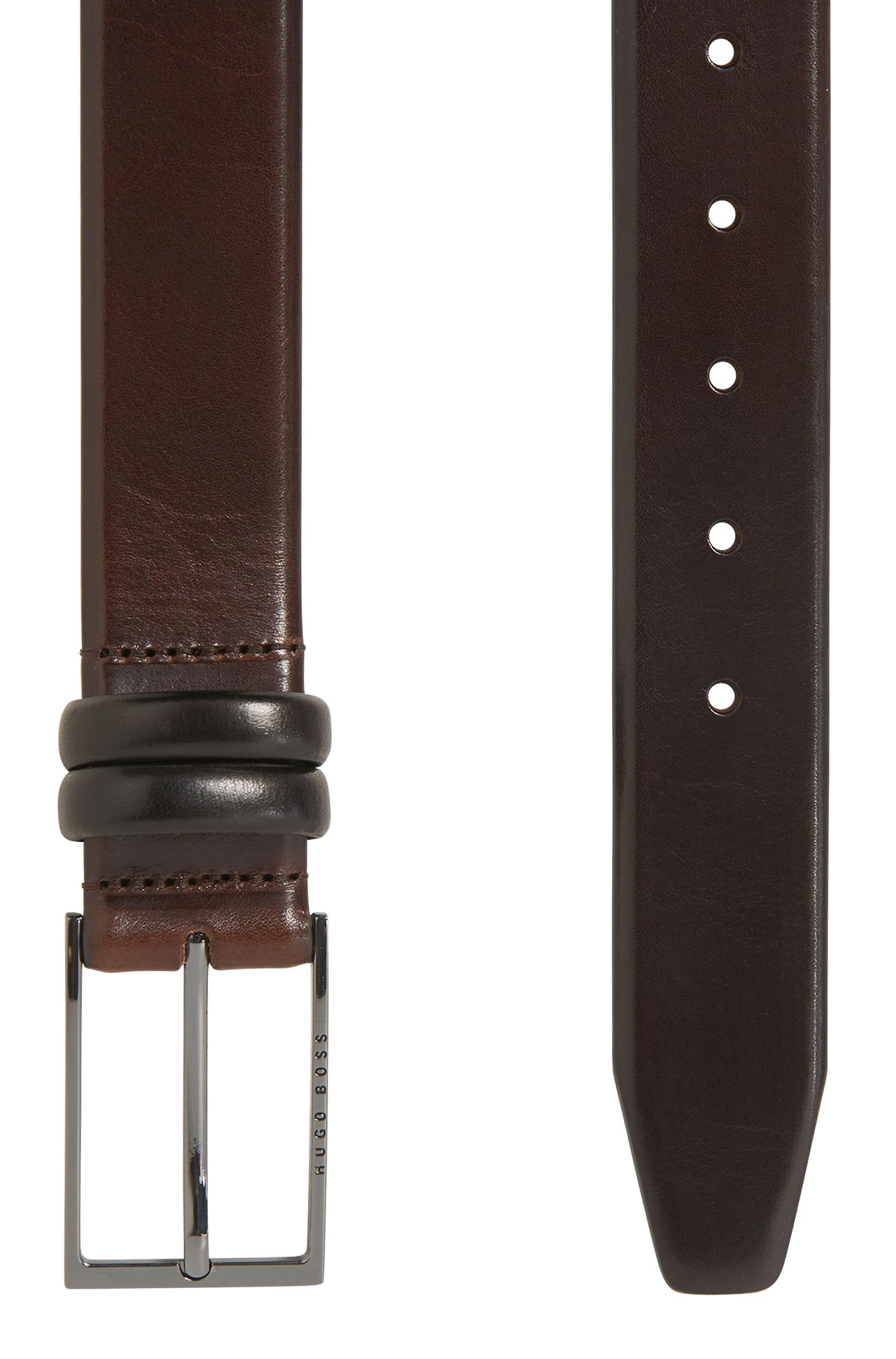 Two-tone belt in vegetable-tanned leather, Dark Brown