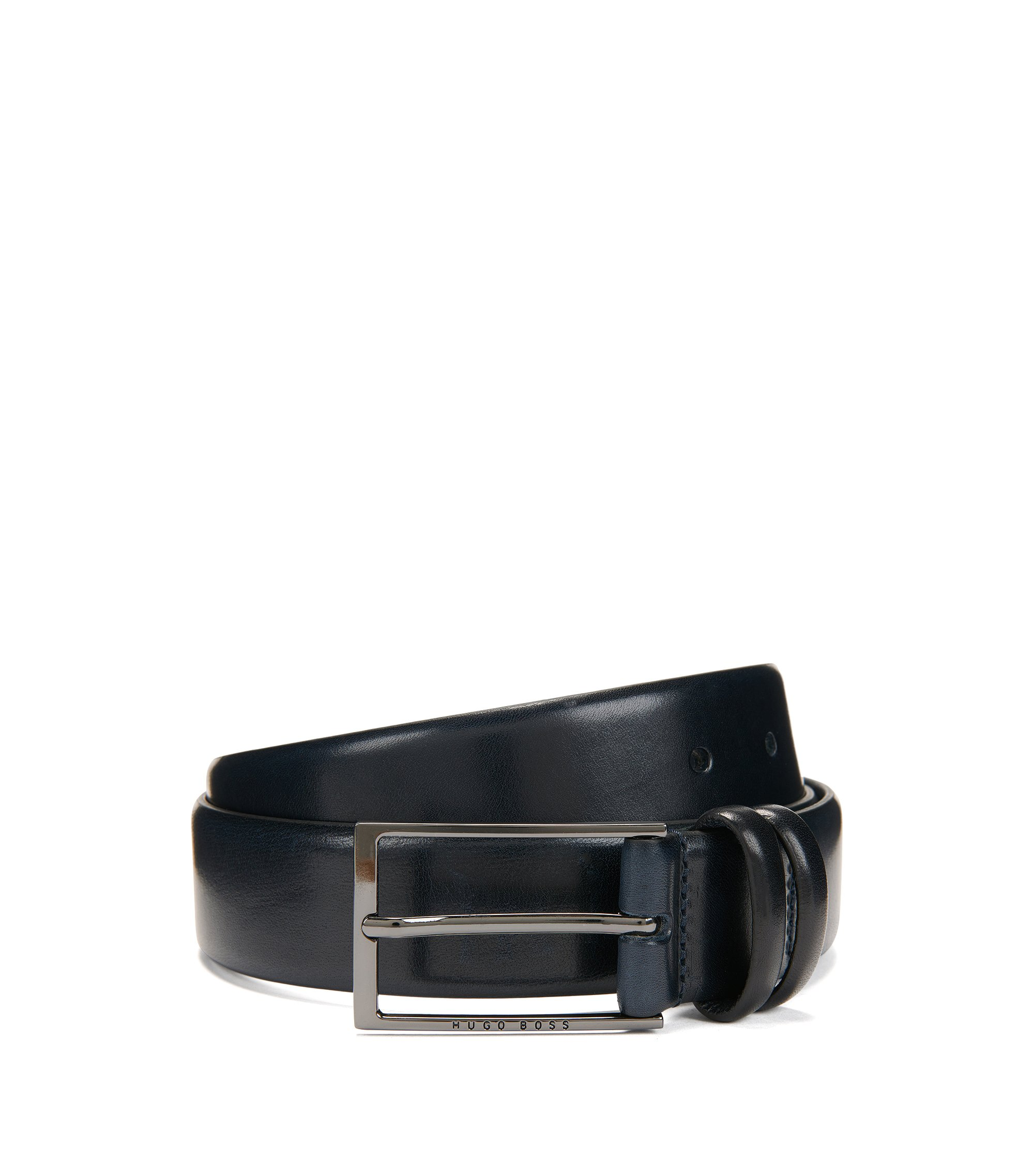 Shiny Leather Belt | Carmello, Dark Blue