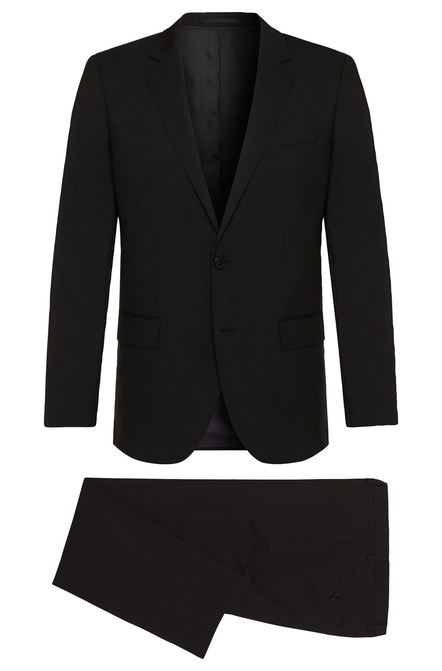 Stretch Virgin Wool Suit, Slim Fit | Huge/Genius