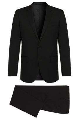 Stretch Virgin Wool Suit, Slim Fit | Huge/Genius, Black